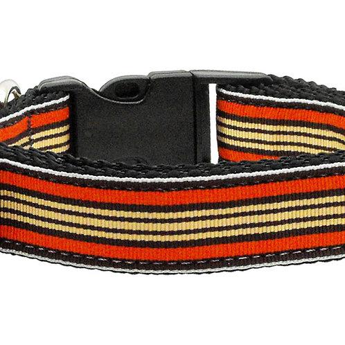 Preppy Stripes Nylon Ribbon Collars Orange/Khaki Medium