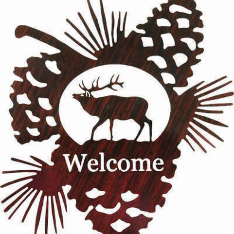 Bull Elk Welcome - Nature Metal Wall Art Sign