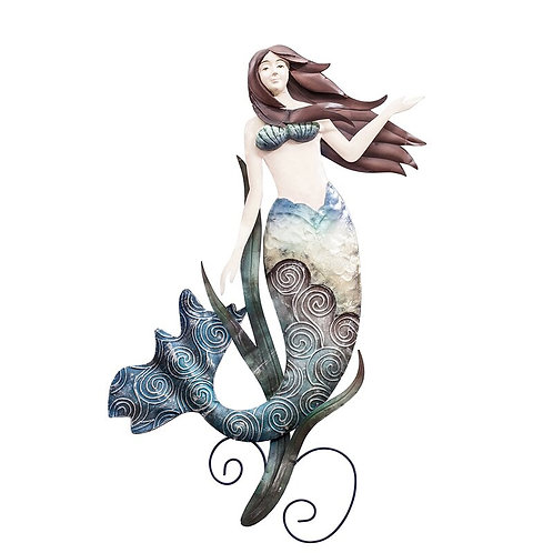 Capiz Shell and Metal Mermaid Wall Decor