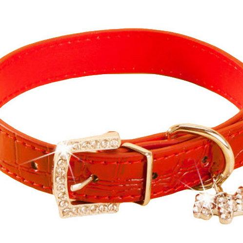 Rhinestone Pet Collars - Dog Leashes - Pet Supplies -- Red Marbling