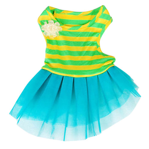 Dog Apparel Pet Clothing Puppy Clothes Green&Yellow Stripes Skirt, Bust 48-54cm