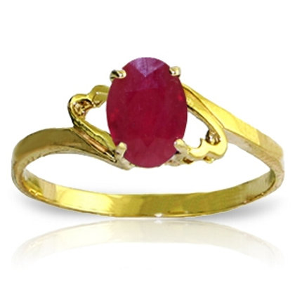 1.15 Carat 14K Solid Yellow Gold Ring Natural Ruby