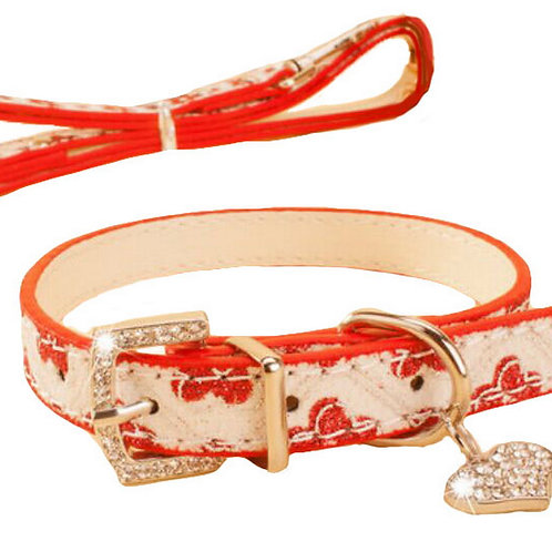 Rhinestone Pet Collars - Dog Leashes - Pet Supplies -- Red Plum 1