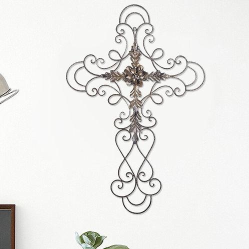 Scrolled Flower Cross Metal Wall Decor