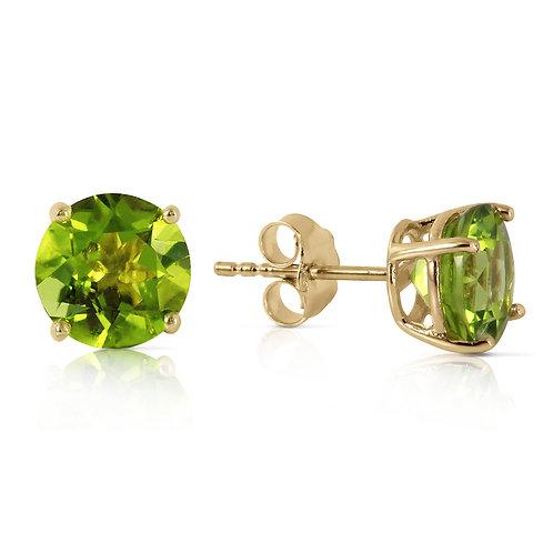 3.1 Carat 14K Solid Yellow Gold Stud Earrings Natural Peridot