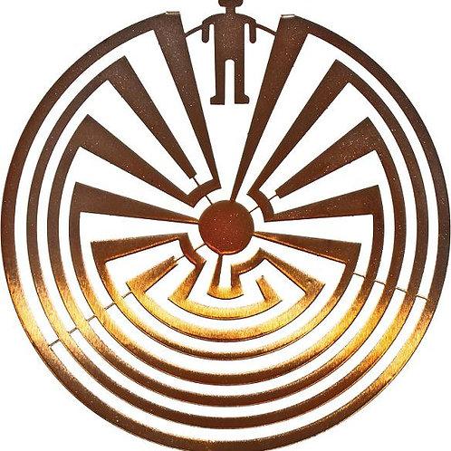 Man In The Maze By Joel Sullivan - Round Laser Cut Metal Wall Art