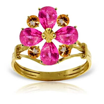 2.43 Carat 14K Solid Yellow Gold Ring Natural Pink Topaz Citrine