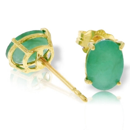 1.8 Carat 14K Solid Yellow Gold Stud Earrings Natural Emerald
