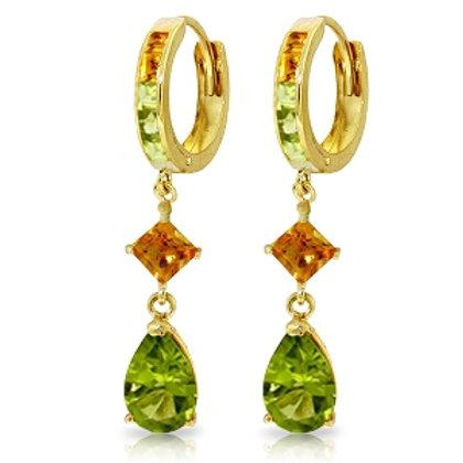 5.15 Carat 14K Solid YEllow Gold Huggie Earrings Dangling Peridot Citrine