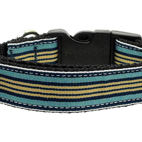 Preppy Stripes Nylon Ribbon Collars Light Blue/Khaki Large