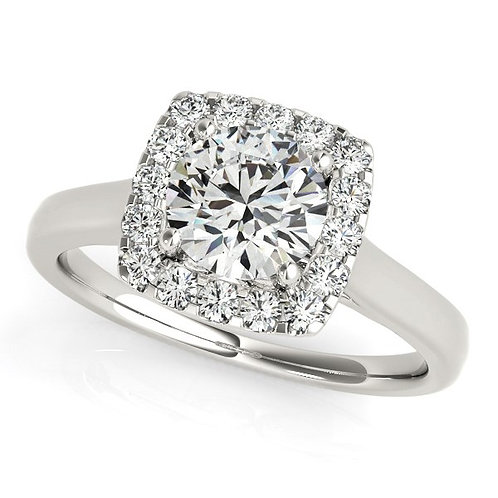 Round with Square Form Border Diamond Engagement Ring in 14k White Gold