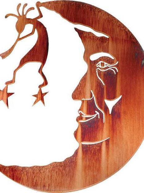 Kokopelli In Moon By Neil Rose - Southwest Laser Cut Metal Wall Art