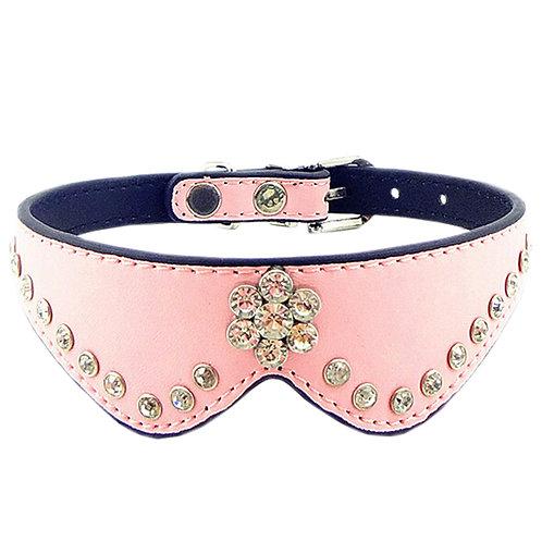 Cute PET Bling Bling Collar Beautiful Dog Leather Basic Collar M(27-31CM) Pink