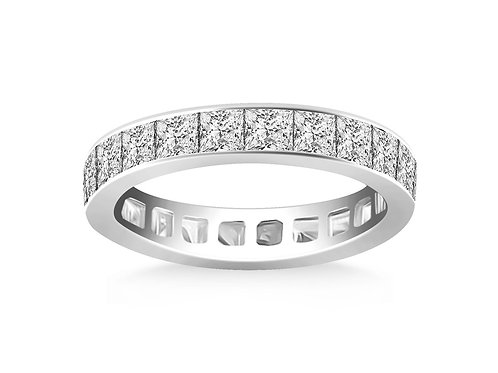 Channel Set Princess Cut Eternity Ring in 14k White Gold