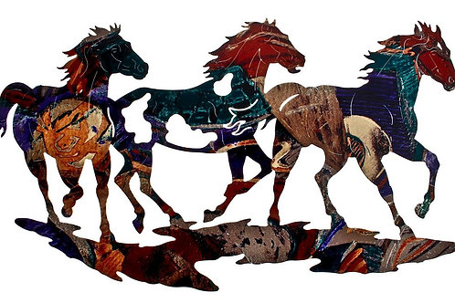 Running Ponies By Neil Rose - Western Laser Cut Metal Wall Art