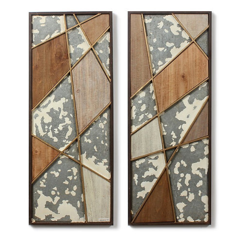 2 Piece Abstract Triangles Wall Décor Set