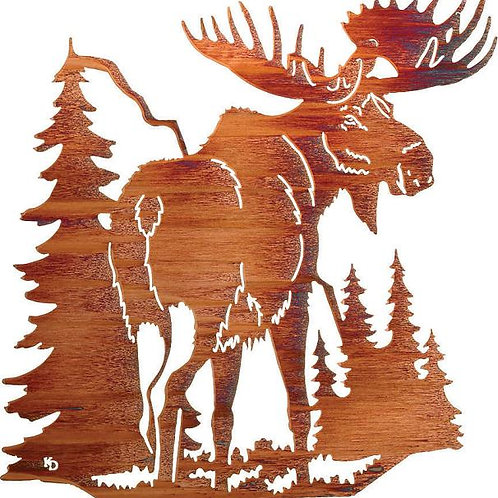 Country Moose By Kathryn Darling - Wildlife 3Laser Cut Metal Wall Art