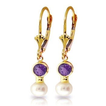 5.2 Carat 14K Solid Yellow Gold Leverback Earrings Pearl Amethyst