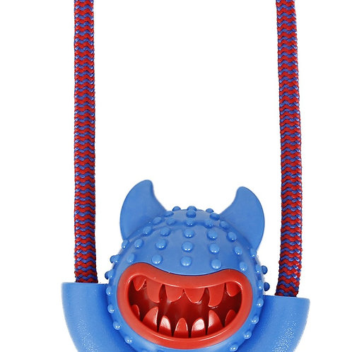Sling-Away Treat Dispensing Launcher With Natural Jute, Squeak Rubberized Toy