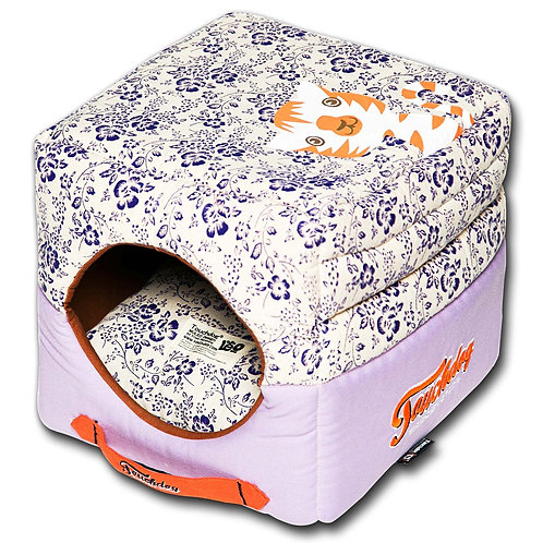 Floral-Galore Convertible and Reversible Squared 2in1 Collapsible Dog House Bed