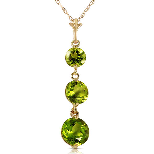 3.6 Carat 14K Solid Yellow Gold Necklace Natural Peridot