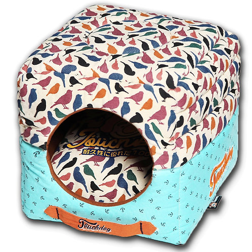 Chirpin-Avery Convertible and Reversible Squared 2in1 Collapsible Dog House Bed