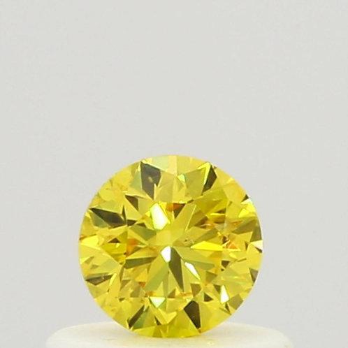 0.33 Carat Round Loose Diamond, Fancy Vivid Yellow, I1, Super Ideal
