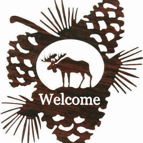 Moose Welcome By Lazart - Nature Metal Wall Art Sign