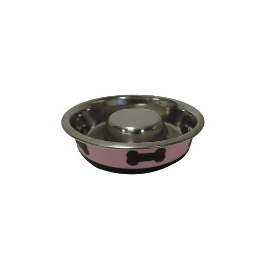 Slow Feeder Spill Proof Pet Bowl with Rubber Base and Bone Design, Pink & Black
