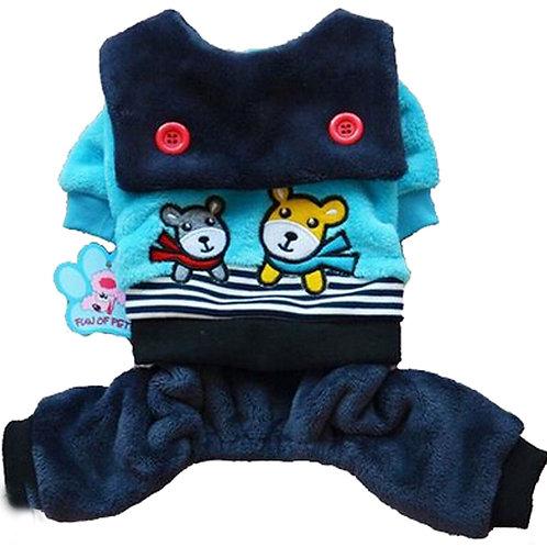 Fashion Pet Dog Warmth Clothes Winter Dress Pet Clothes Blue