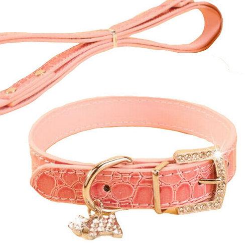 Rhinestone Pet Collars - Dog Leashes - Pet Supplies -- Pink Marbling 1