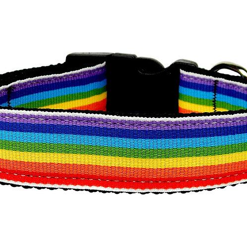Rainbow Striped Nylon Collars Rainbow Stripes Medium