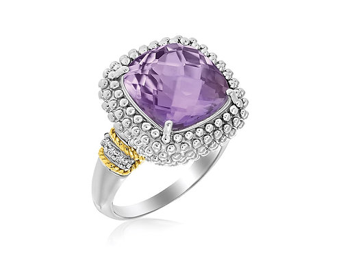 Cushion Amethyst and Diamond Accented Popcorn Ring in 18k Yellow Gold