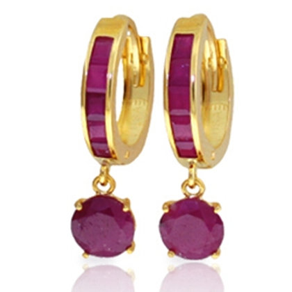 3.3 Carat 14K Solid Yellow Gold Huggie Earrings Natural Ruby
