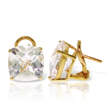 7.2 Carat 14K Solid Yellow Gold Provocative White Topaz Earrings