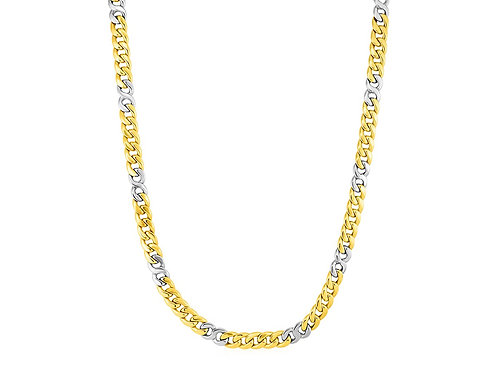 Mens Twisted Link Necklace in 14k Two Tone Gold