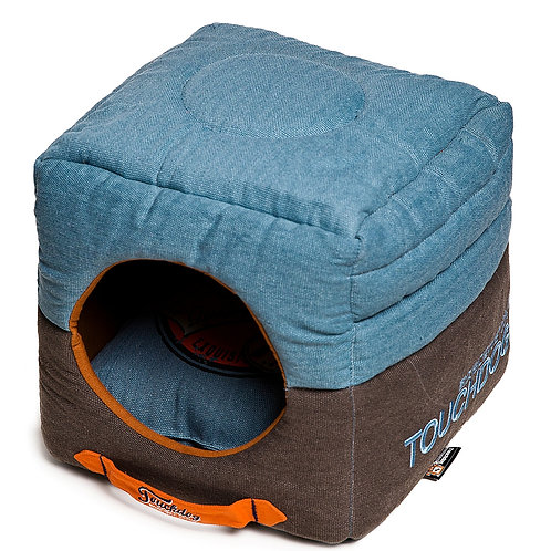 Convertible and Reversible Vintage Printed Squared 2-in-1 Collapsible Dog House