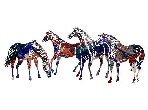 Painted Ponies By Neil Rose - Western Laser Cut Metal Wall Art