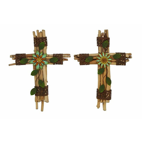 Wood/Metal Cross Wall Décor Set