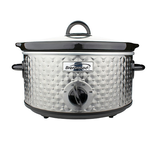 Brentwood Appliances 3.5-Quart Diamond-Pattern Slow Cooker (Silver)