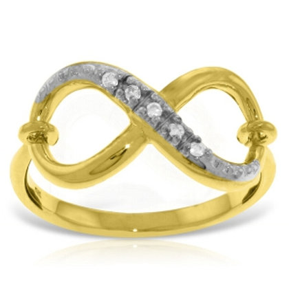14K Solid Yellow Gold Infinity Ring w/ Natural Diamonds