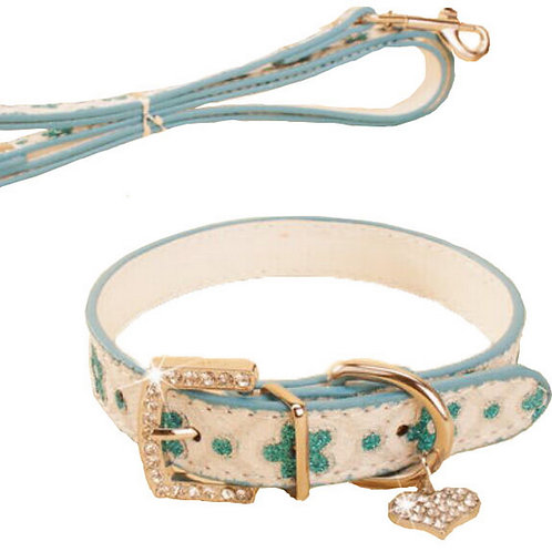 Rhinestone Pet Collars - Dog Leashes - Pet Supplies -- Blue Plum 1