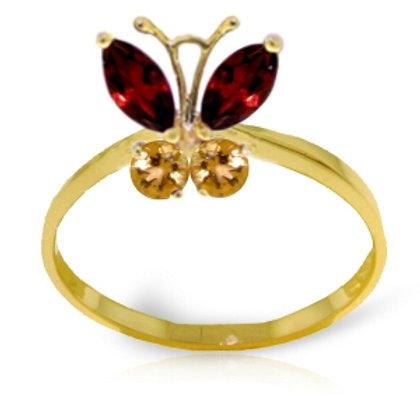 0.6 Carat 14K Solid Yellow Gold Butterfly Ring Garnet Citrine