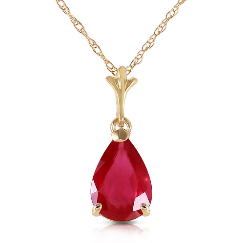 1.75 Carat 14K Solid Yellow Gold House Of Flesh Ruby Necklace