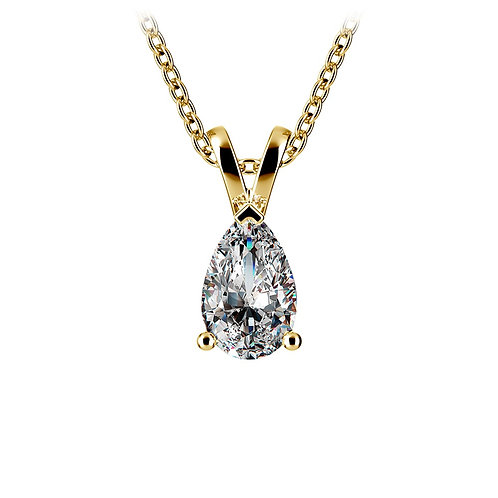 Pear Yellow Gold Diamond Solitaire Pendants