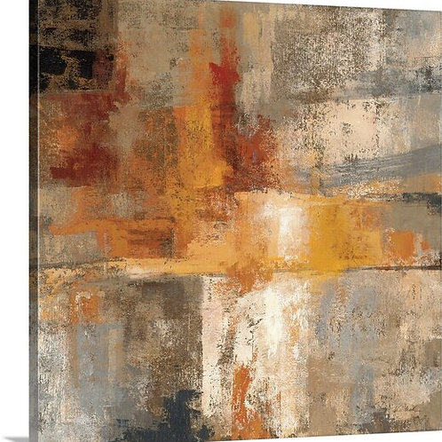 'Silver and Amber Crop' by Silvia Vassileva Painting Print on Canvas