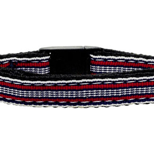Preppy Stripes Nylon Ribbon Collars Red/White Cat Safety