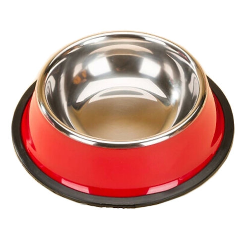 Stainless Steel Outdoors/Travel Dog Bowl Feeding Tray Cat Food Bowl, Red