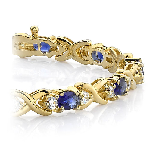Twisted Diamond & Blue Sapphire Oval Gem Bracelet In Yellow Gold (9 Ctw)