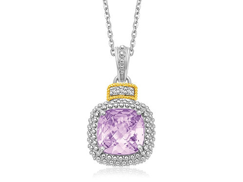 Amethyst and Diamond Popcorn Motif Cushion Pendant in 18k Yellow Gold